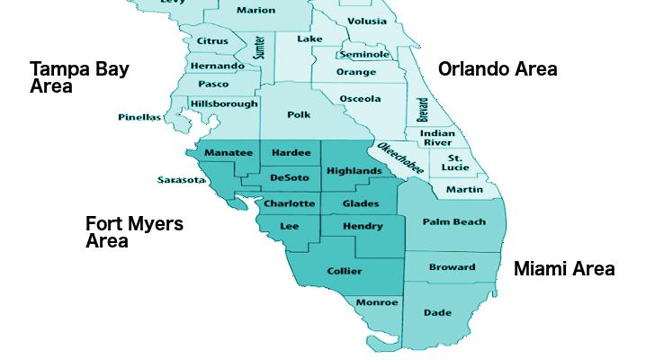 Florida County Area Map