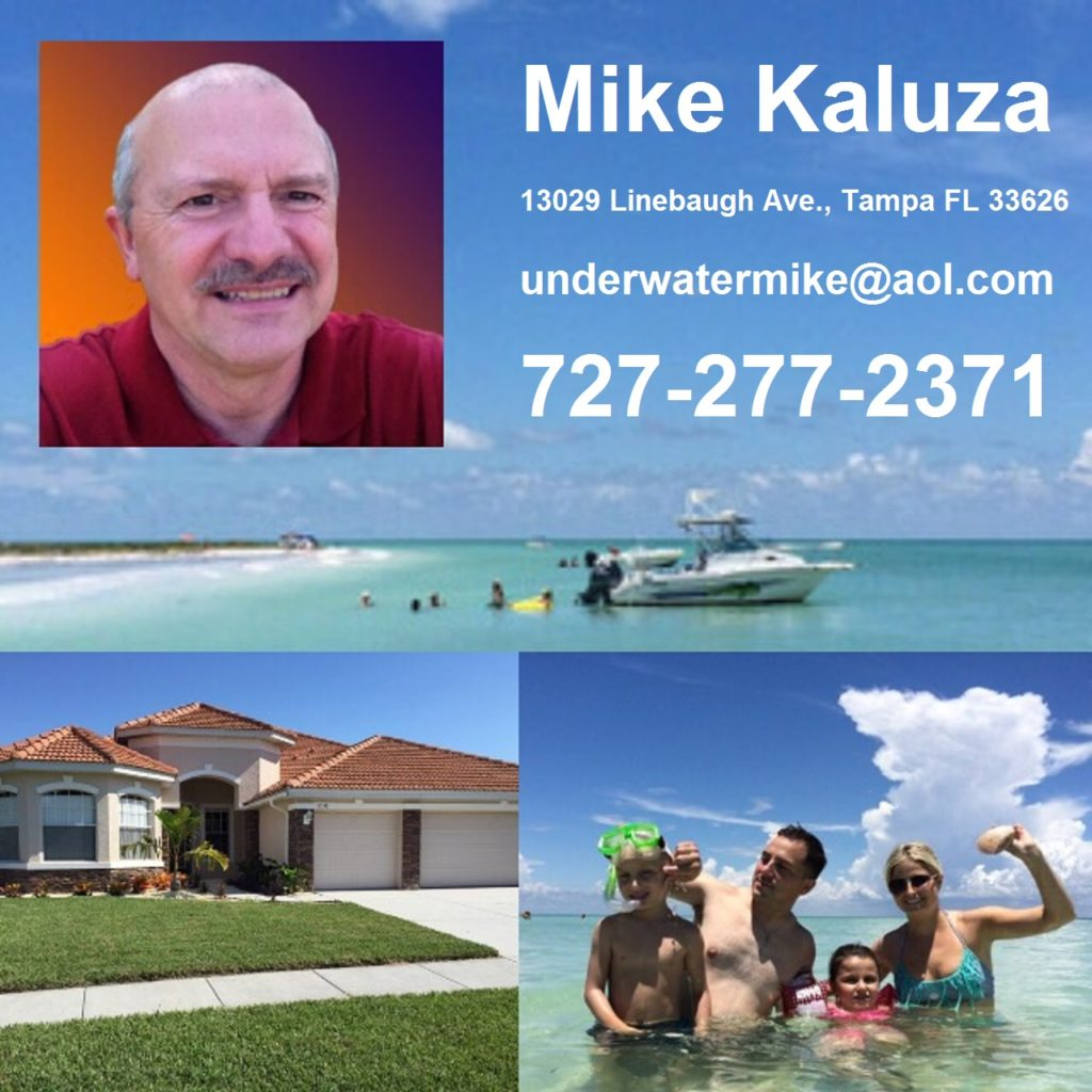 Mike Kaluza – Realtor at Future Home Realty 13029 Linebaugh Ave., Tampa FL 33626 (727) 277 – 2371 underwatermike@aol.com